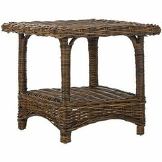 """Bowen End Table Finish: Croco by Safavieh. $191.99. Croco. 20.3""""H x 22""""L x 22""""D. FOX6531C Finish: Croco Features: -Material: Wood, Rattan.-Perfect in anyone's living room.. Save 45% Off!"""