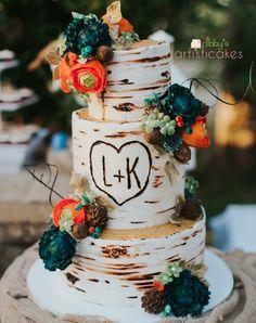 wedding cakes teal Tree bark buttercream wedding cake, teal and orange fondant flowers Square Wedding Cakes, Fall Wedding Cakes, Wedding Cakes With Flowers, Fall Wedding Colors, Wedding Cake Designs, Spring Wedding, Rustic Wedding, Our Wedding, Dream Wedding