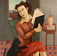 """Distracted Reader with Black Cat"" by Rick Beerhorst Arte Indie, Indie Art, Audre Lorde, Reading Art, Woman Reading, Reading People, Reading Books, Books To Read For Women, World Of Books"