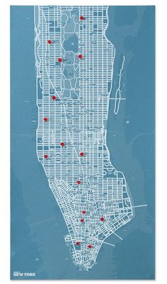get a local map and mark your favorite coffee shops, lunch locals, and fun memories   blue map + red pins   Designers Emanuele Pizzolorusso and Alessandro Maffioletti have designed a new collection of wall maps. These maps come with a set of special pins that allow you to point out spots in your city and in the world, or to attach small memo(ries).