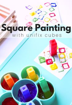 Learning about shapes? Just want a fun painting activity your students can do without you hovering nearby? This square painting activity for preschool is perfect! Preschool Painting, Preschool Art Projects, Preschool Art Activities, Preschool Colors, Painting Activities, Craft Projects For Kids, Preschool Lessons, Preschool Classroom, Preschool Shapes