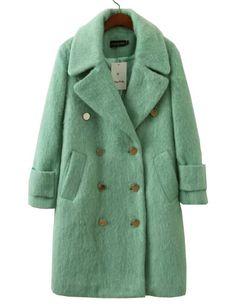 #fashion #accessories European Fuzzy Double-Breasted Wool Coat in Green   Light Green by Moda Tendone - WoolCoat Clothes, Fashionable, Light Green, Women, WoolCoat