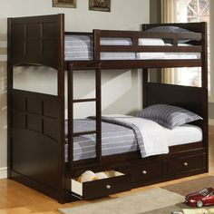 Jasper Wood Twin Bunk Bed by Coaster | Wooden Twin Over Twin Bunk Bed Under Storage Drawers
