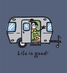 """Life is Good in a Camper with my sister and her furbaby. Have enjoyed my camping experiences this summer. :) I think I am now a """"Glamper"""" lol Camping Glamping, Camping Ideas, Outdoor Camping, Camping Hacks, Camping Humor, Camping Stuff, Camping Outdoors, Outdoor Fun, Caravan Vintage"""