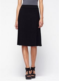 For travelling - Knee-Length Flared Skirt in Viscose Jersey