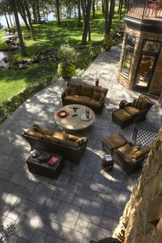Lovely landscape project with brown sofas and slate tiles #slate #tiles #home #exterior #garden #backyard #naturalstone