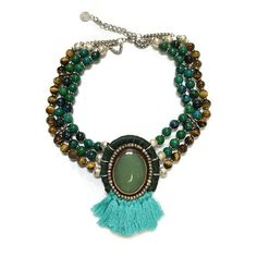 Emerald Isle - olive green agate focal stone adjustable necklace embedded in leather with strands of chrysocolla and tiger's eye