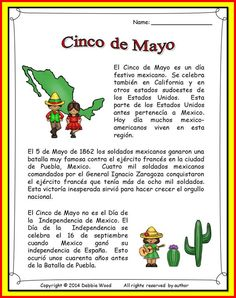 Cinco de Mayo for the Spanish Language class.  Includes reading on Cinco de mayo. Also includes 7 exercises with Vocabulary, grammar and cognates.