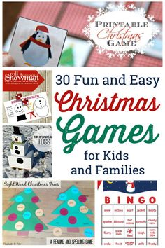 30 Christmas games for family and kids to play at your next holiday party. 30 Christmas games for family and kids to play at your next holiday party. Christmas Games Online, Christmas Party Games For Kids, Christmas Activities For Families, Printable Christmas Games, Holiday Party Games, Kids Party Games, Christmas Holidays, Christmas Ideas, Game Party