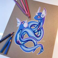 "3,148 Likes, 168 Comments - MARILYN MAE (@maeartistry) on Instagram: ""✩ Hey friends! It's almost 8a.m and I finally finished Dratini & Dragonair. Haha. I finally can…"""