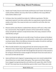 The Easy Multi-Step Word Problems Math Worksheet from the Word Problems Worksheets Page at Math-Drills.com.