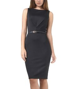 Love this Black V-Detail Belted Sleeveless Dress - Plus Too on #zulily! #zulilyfinds