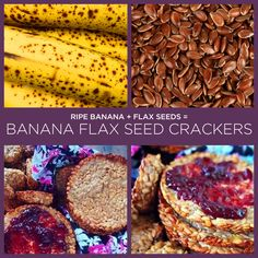 Ripe Banana + Flax Seeds = Banana Flax Seed Crackers (and a bunch of other 2 ingredient recipes) Vegan Recipes, Snack Recipes, Cooking Recipes, Easy Recipes, Cooking Tips, Flax Seed Crackers, 2 Ingredient Recipes, Banana Madura, Flax Seed Recipes