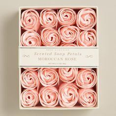 Both beautiful and practical, our Moroccan Soap Petals come in the shape of real rose buds. Use them decoratively in your favorite dish or apothecary jar to fragrance your bathroom, or use a few petals as a single use soap for handwashing.