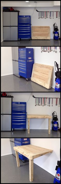 Folding workbench made from repurposed pallets