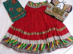 Navratri Chaniya choli Designer Indian Red and black by mfussion, $78.00