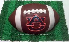 Homemade Auburn Football Cake: This auburn football cake is so much easier than it looks! This is probably one of the quickest cakes I have ever done too.   For the shape of the cake
