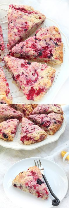 Raspberry Breakfast Scones with Vanilla Coffee Creamer Recipe ~ Moist and soft raspberry scones with a hint of vanilla coffee creamer.