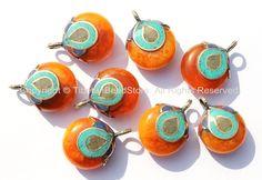 Tibetan Copal Amber Reversible Pendant with Brass, Lapis, Turquoise & Coral Inlay Cap - Tibetan Pendant - Tibetan Amber Amulet - WM4875