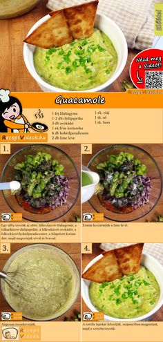 Guacamole recept elkészítése videóval Easy Chicken Dinner Recipes, Veggie Recipes, Mexican Food Recipes, Cooking Recipes, Healthy Snacks, Healthy Eating, Healthy Recipes, Dinner Healthy, Veggie Meal Prep