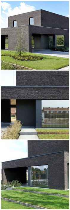 This shaped house with bagged brick would be great for something not typical. Minimal Architecture, Brick Architecture, Residential Architecture, Contemporary Architecture, Architecture Details, Brick Facade, Facade House, Living Haus, Exterior Design