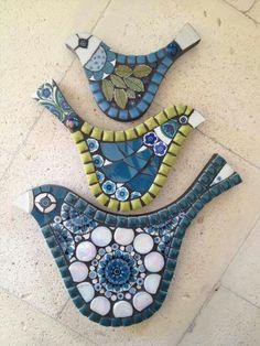 mosaicos 3 pájaros hermoso Mosaic Birds