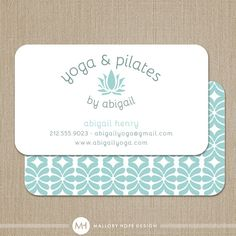 Yoga Instructor or Pilates Instructor Modern Business Card / Calling Card / Mommy Card ©MalloryHopeDesign