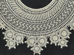 """Handmade Armenian Lace:  """"Another approach to knotted netting has been used in Eastern Mediterranean countries (e.g., Turkey, Cyprus, Palestine), although it is most often called 'Armenian lace.'  Unlike filet, in which the netting merely provides a ground for needle worked patterns, the net structure itself in Armenian lace is decorative.  Groups of threads are combined or separated at will, and individually made circular pieces  may be combined.  Closely knotted areas contrast with open…"""