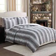 Ultra Soft Faux Gray Chinchilla Fur Reversible Comforter 3 Pc Set Queen or King