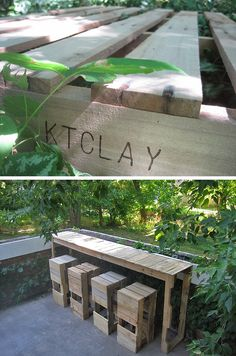 Cocktails Anyone? • DIY Outdoor Bars! • A round-up of Ideas and Tutorials from around the web. Including from 'stacked design', this very cool pallet bar table and chairs project.