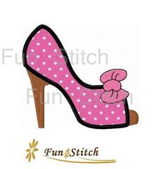 High heel shoe applique machine embroidery design by FunStitch, $4.00