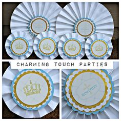 Baptism / First Communion / Christening Decorative Rosettes / Paper Fans / Medallions by Charming Touch Parties. Blue, gold and ivory. by CharmingTouchParties on Etsy