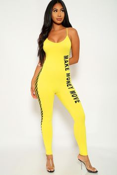 65623cb4e89 Sexy Yellow Jumpsuit Sleeveless Scoop Neck Checkered Side Bodycon
