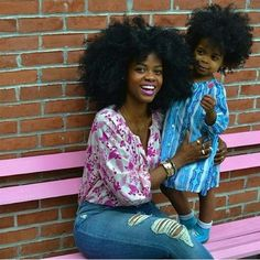 Mother and daughter afros