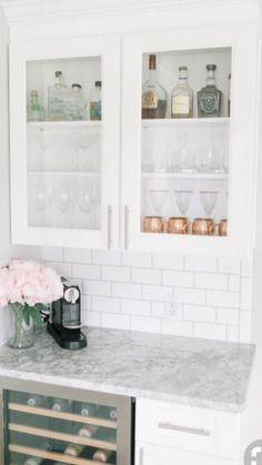 Glass Cabinet Above Bar Wine Fridge