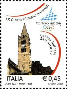 """2005 - XX Giochi Olimpici Invernali """"Torino 2006"""" - Cesana Torinese frazione San Sicario, il campanile della Chiesa romanica di San Giovanni Battista"""