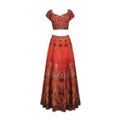 Burnt orange and maroon embroidered bridal lehenga set available only... ($3,925) ❤ liked on Polyvore featuring intimates