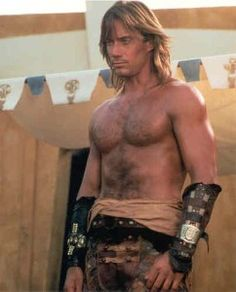 Kevin Sorbo in Hercules.  I don't normally go for the big burly types, but one of the things I love about Kevin is his hair!