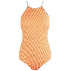 MINKPINK Women's Sun Kissed Chevron Swimsuit - Multi featuring polyvore fashion clothing swimwear one-piece swimsuits multi high neck bathing suit white swim suit bow one piece swimsuit chevron swimsuit orange bathing suit