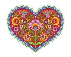 Folk Art floreale stampare Cuore gioioso Wycinanki stile - in Folk colori 8 x 10 Questa stampa art è progettata nello stile del polacco wycinanki,