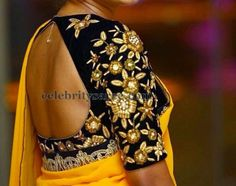 Black Elbow Length Work Blouse | Saree Blouse Patterns