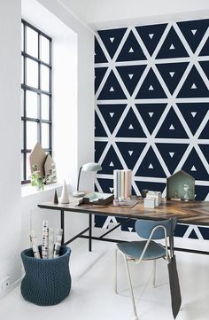 Tropical Leaf, Jungle Removable Wallpaper, Peel and Stick or Non Woven traditional material – Home Office Design İdeas Home Office Design, Home Office Decor, Diy Home Decor, Office Nook, Office Ideas, Bedroom Wall, Bedroom Decor, Geometric Wall Paint, Geometric Art