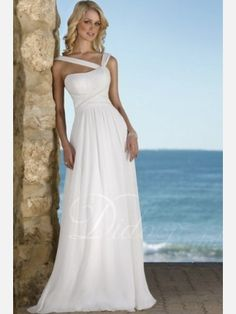 Didobridal.com: Column Brush Train Chiffon Beach Wedding Dress -  For more amazing deals visit us at http://www.brides-book.com and remember to join the VIB Club  for amazing offers from all our local vendors.