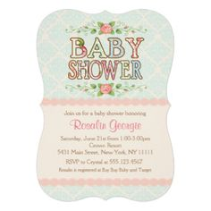 Shabby Chic Baby Shower Invitations.