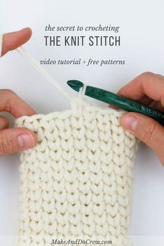 Learn how to crochet the knit stitch successfully in this step-by-step video tutorial. The knit stitch (AKA the waistcoat or center single crochet stitch) can be tricky at first, but trying the few specific tips mentioned in this video, you'll know how to Knit Or Crochet, Learn To Crochet, Crochet Crafts, Things To Crochet, Crochet Granny, Crochet Geek, Crochet Afghans, Moss Stich Crochet, Tunisian Crochet Blanket