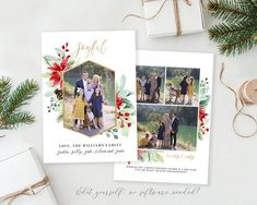 Joyful Christmas Card Template Spread some holiday cheer this season with this Christmas Card Template. Your beautiful family photos will look perfect in this 5x7 floral Christmas card. You can quickly and easily edit your card online in your web browser, then download and print right away! No Christmas Card Template, Printable Christmas Cards, Merry Christmas Card, Christmas Photo Cards, Christmas Photos, Holiday Cards, Birth Announcement Template, Watercolor Christmas Cards, Card Templates
