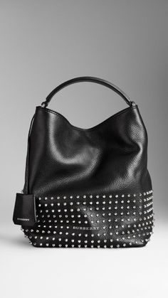 Medium Studded Leather Hobo Bag | Burberry-I love this bag...too bad they want $1,095 for it