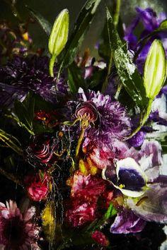 Ein Blumenarrangement im Eis aus Violett, Lila und Bordeaux