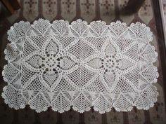 tapetes de croche Tapete de Croche em Barbante   Com Grafico Flores Redondo Oval
