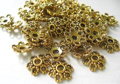 Gold Bead Caps (100) Flower Antique Fit 8 - 14mm Beads Plated Pewter Beads Findings Best Wholesale Jewelry Supply Online CrazyCoolStuff